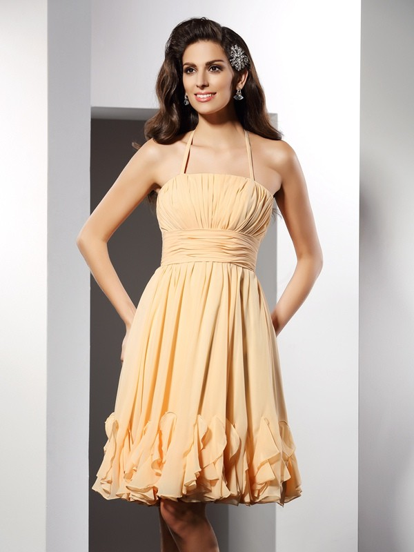 Special A-Line Halter Cut Chiffon Short Dresses With Ruffles