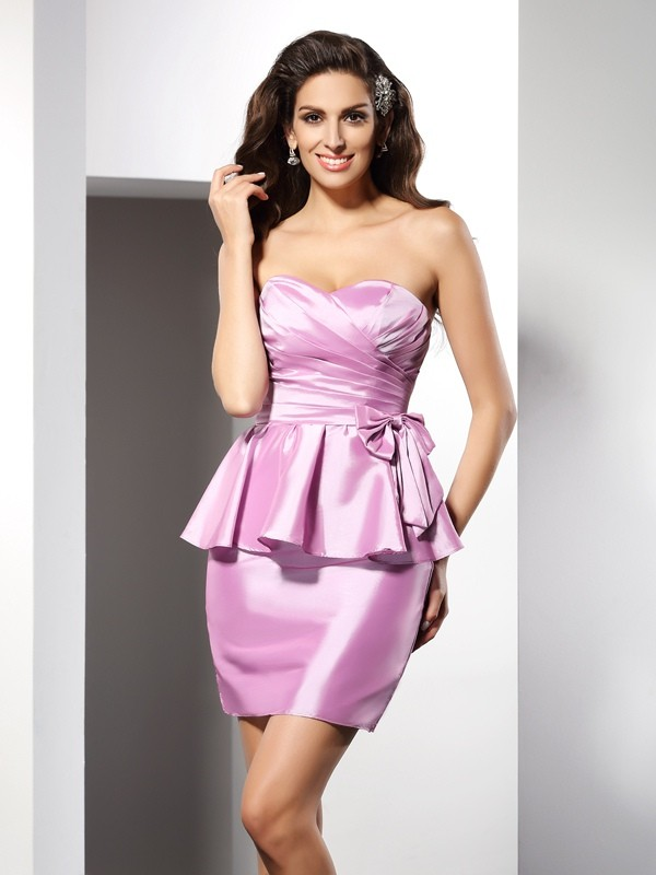 Delicate Sheath Sweetheart Cut Taffeta Short Dresses With Bowknot