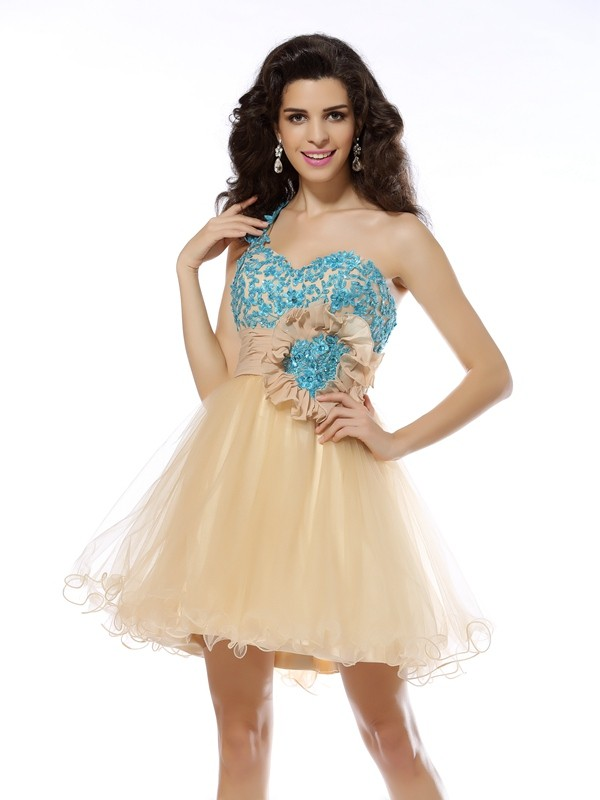 Brilliant A-Line One-Shoulder Cut Net Short Dresses With Applique