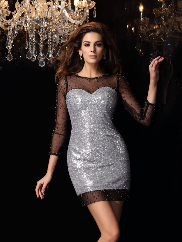 Stylish Sheath Scoop Cut Sequins Short Dresses With Beading