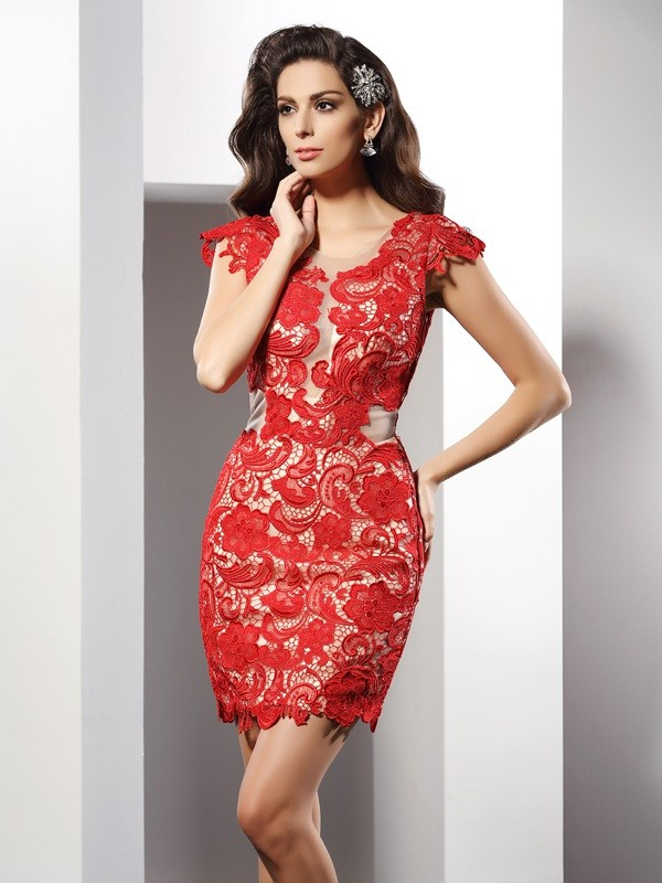Glamorous Sheath Scoop Cut Elastic Woven Satin Short Dresses With Lace