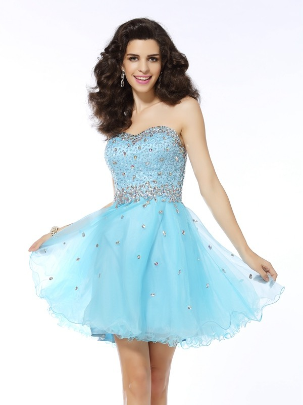 Popular A-Line Sweetheart Cut Organza Short Dresses With Ruffles