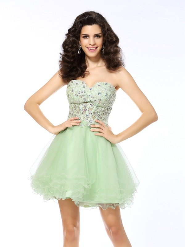 Nice A-Line Sweetheart Cut Satin Short Dresses With Ruffles