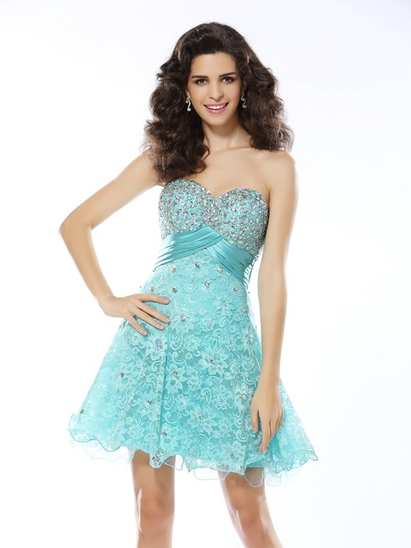 Elegant A-Line Sweetheart Cut Satin Short Dresses With Ruffles