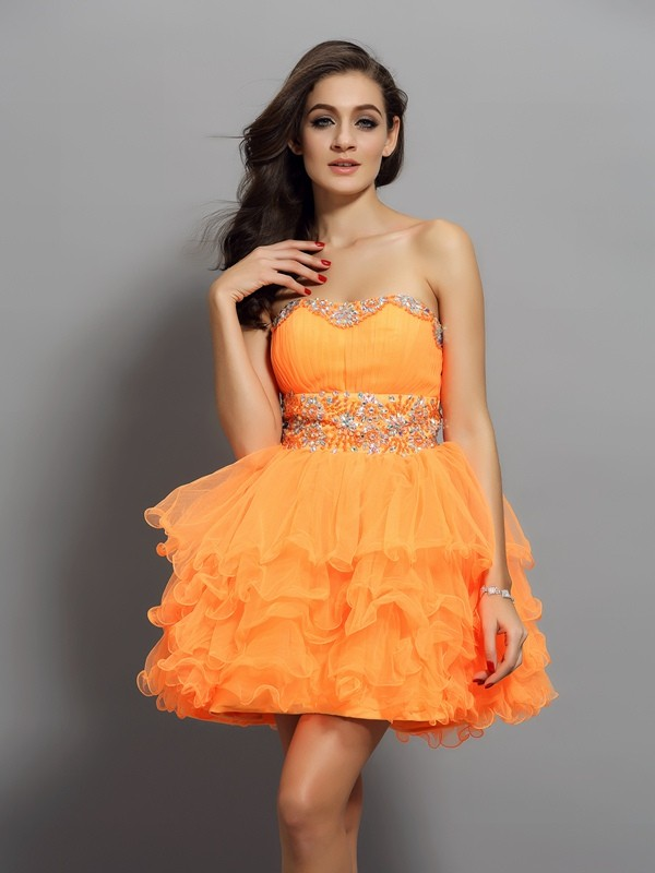 Amazing A-Line Sweetheart Cut Satin Short Dresses With Ruffles