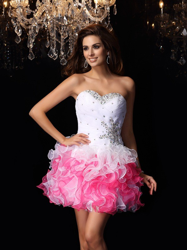 Graceful A-Line Sweetheart Cut Organza Short Dresses With Ruffles