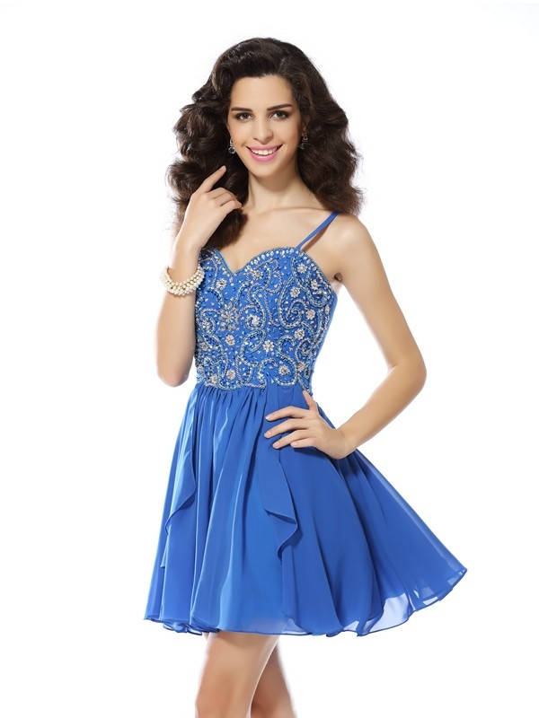 Romantic A-Line Spaghetti Straps Cut Chiffon Short Dresses With Beading