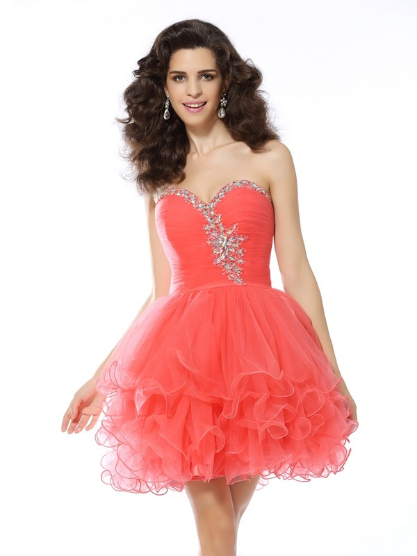 Lovely A-Line Sweetheart Cut Satin Short Dresses With Ruffles