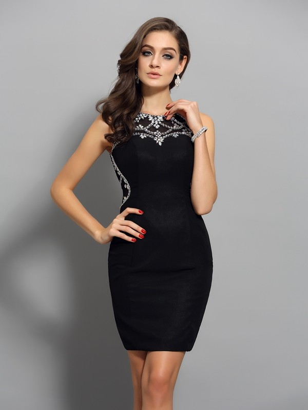 Shining Sheath Scoop Cut Chiffon Short Dresses With Beading