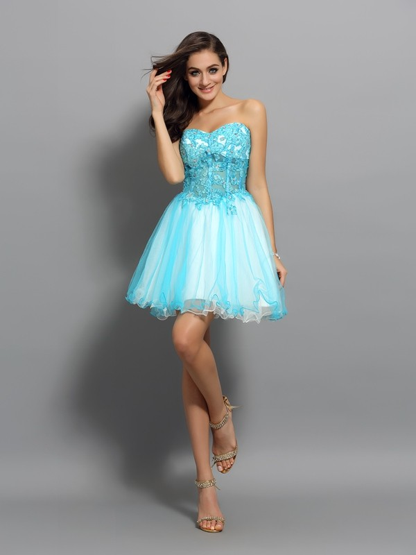 Brilliant A-Line Sweetheart Cut Satin Short Dresses With Beading