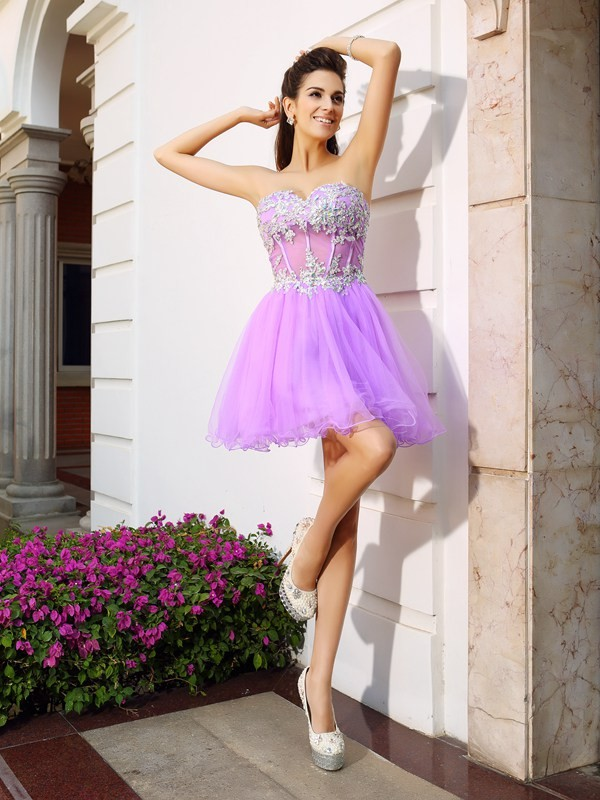 Soft A-Line Sweetheart Cut Organza Short Dresses With Beading