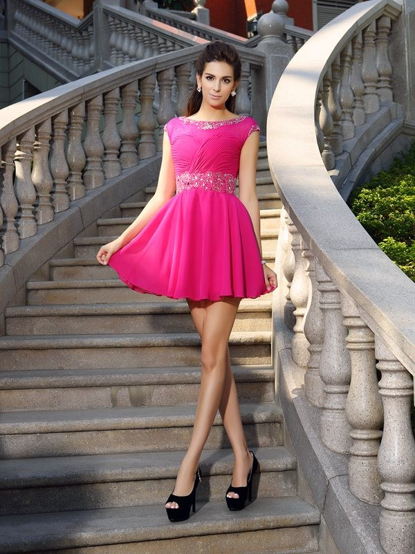 Radiant A-Line Scoop Cut Chiffon Short Dresses With Beading