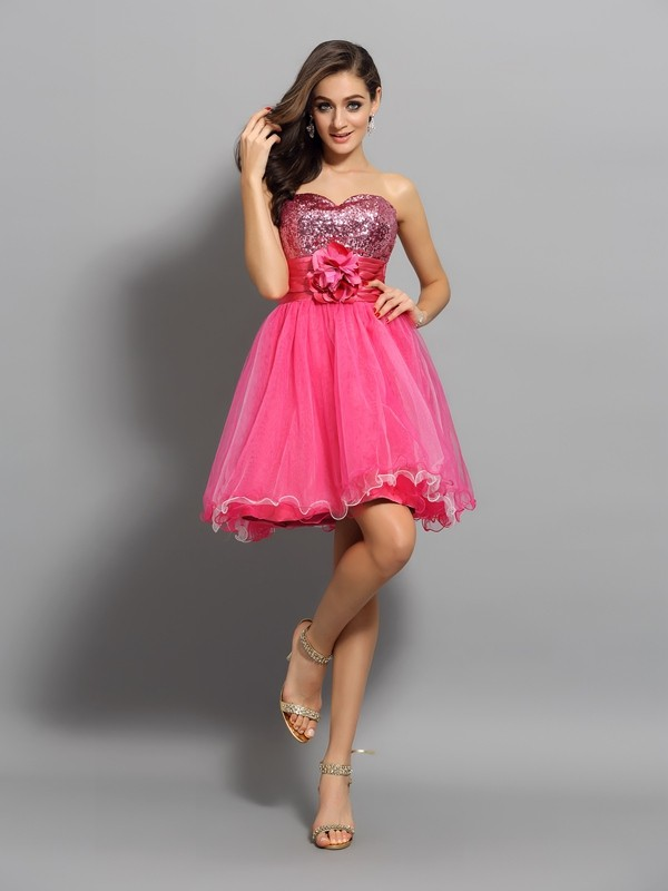 Smart A-Line Sweetheart Cut Net Short Dresses With Ruffles