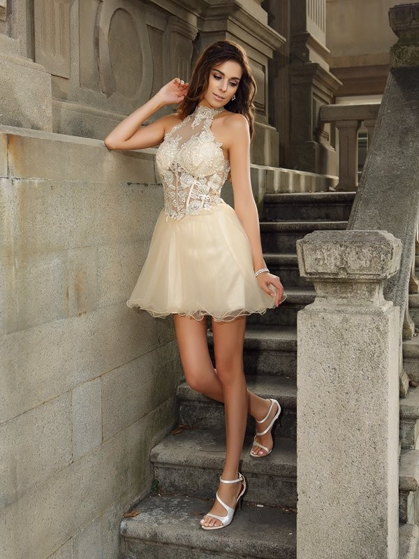 Sweet A-Line High Neck Cut Tulle Short Dresses With Ruffles