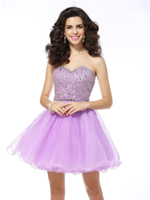 Trendy A-Line Sweetheart Cut Organza Short Dresses With Ruffles