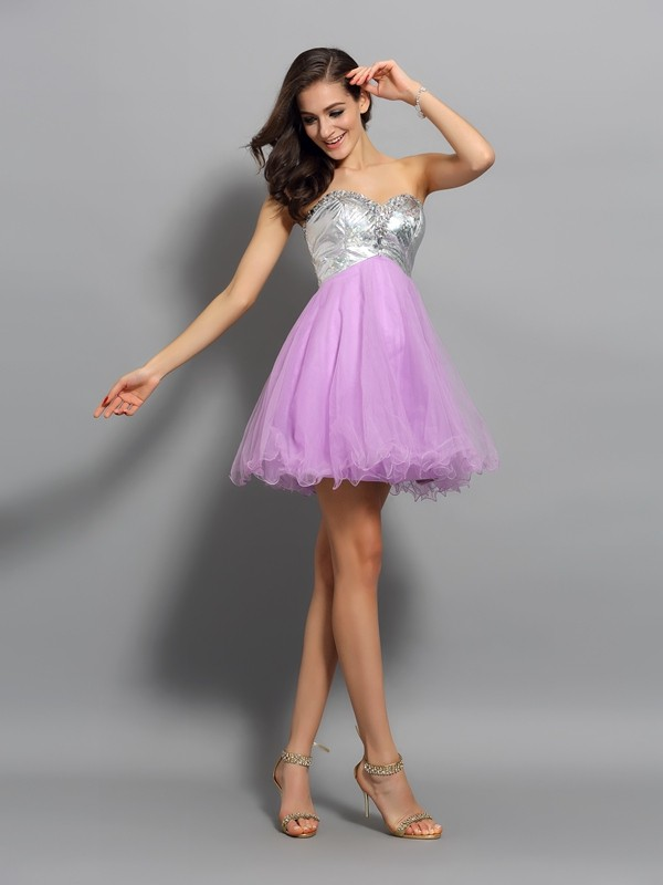 Awesome A-Line Sweetheart Cut Organza Short Dresses With Ruffles