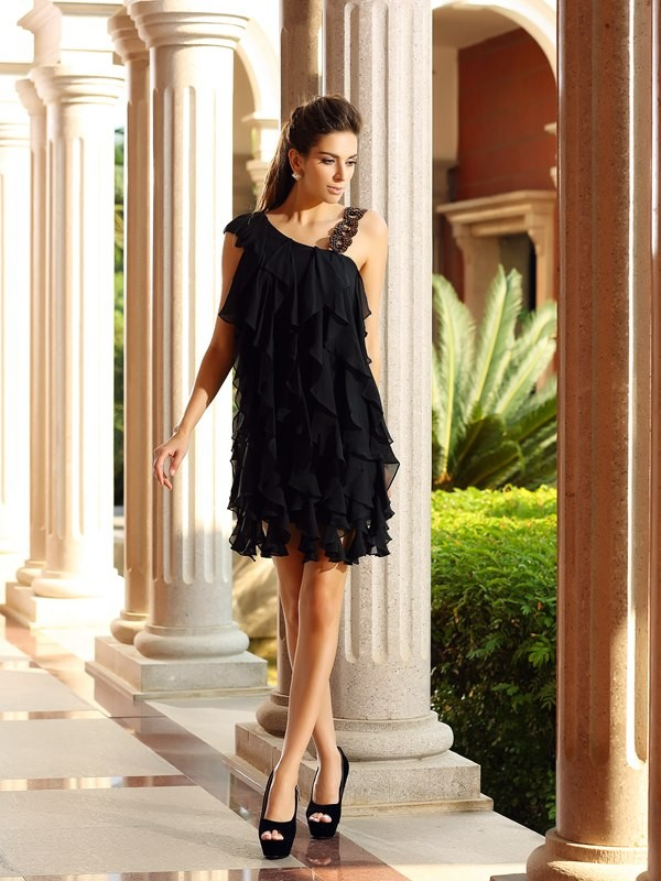 Amazing A-Line One-Shoulder Cut Chiffon Short Dresses With Ruffles