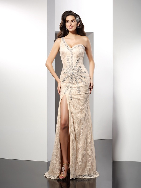 Romantic Sheath One-Shoulder Cut Elastic Woven Satin Long Dresses With Ruffles