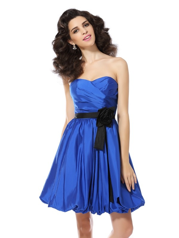 Attractive A-Line Sweetheart Cut Taffeta Short Dresses With Hand-Made Flower