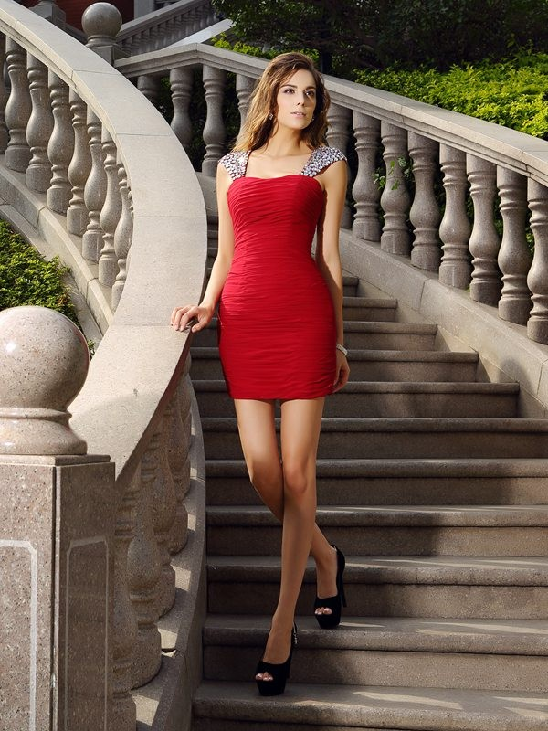 Special Sheath Straps Cut Chiffon Short Dresses With Beading