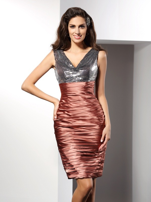 Bright Sheath V-neck Cut Silk like Satin Short Dresses With Ruffles