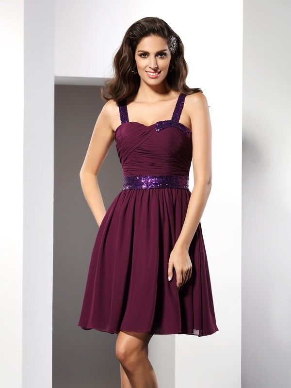 Brilliant A-Line Straps Cut Chiffon Short Dresses With Ruched