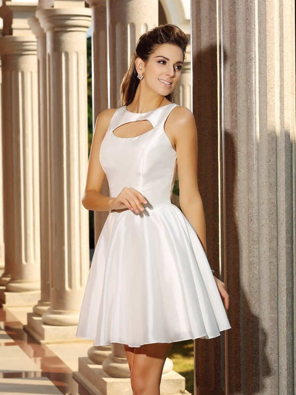 Modern A-Line High Neck Cut Satin Short Dresses With Ruffles