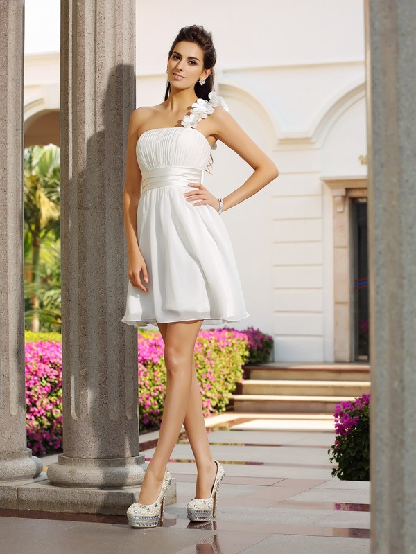Smart A-Line One-Shoulder Cut Chiffon Short Dresses With Hand-Made Flower