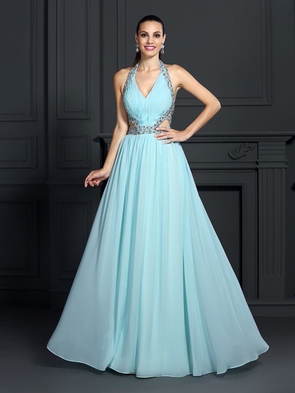 Hot A-Line Halter Cut Chiffon Long Dresses With Beading