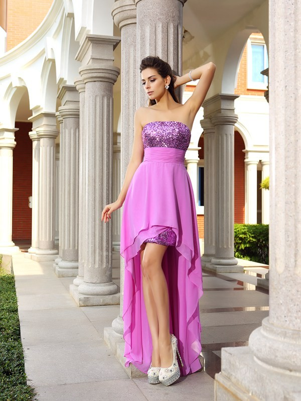 Glamorous A-Line Strapless Cut Chiffon High Low Dresses With Beading