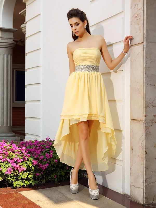 Popular A-Line Strapless Cut Chiffon High Low Dresses With Beading