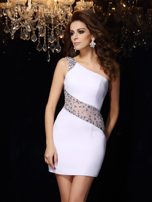 Trendy Sheath One-Shoulder Cut Chiffon Short Dresses With Beading