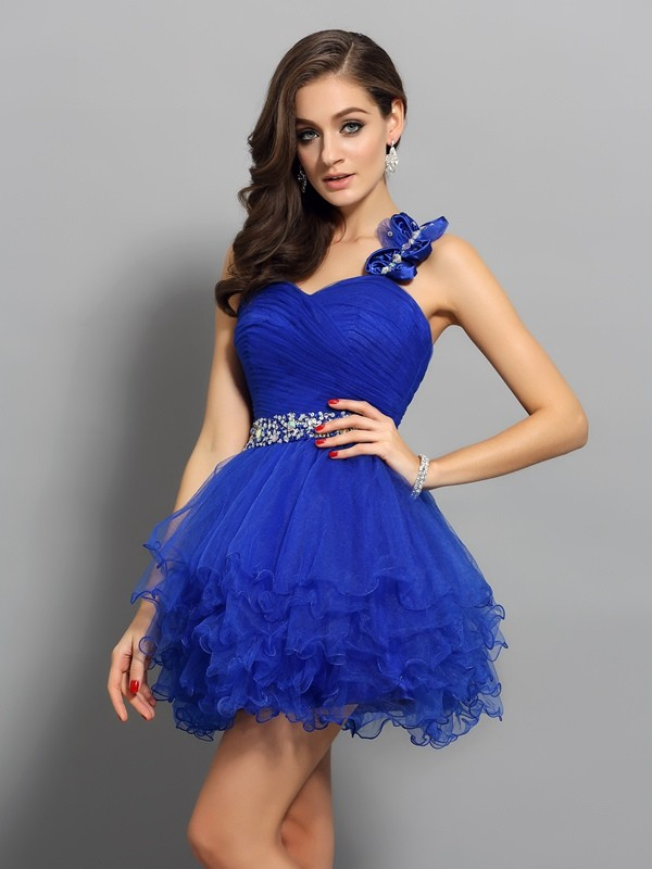 Gorgeous A-Line One-Shoulder Cut Organza Short Dresses With Beading