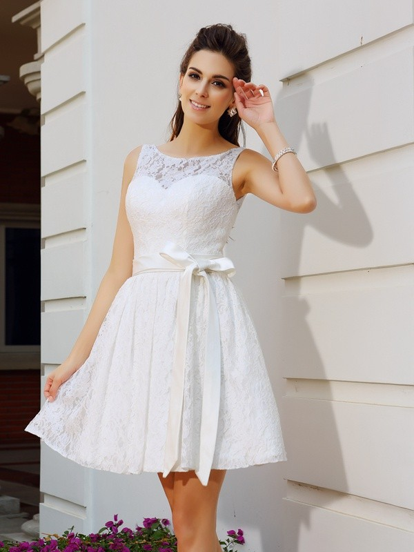 Graceful A-Line Scoop Cut Lace Short Dresses With Sash/Ribbon/Belt