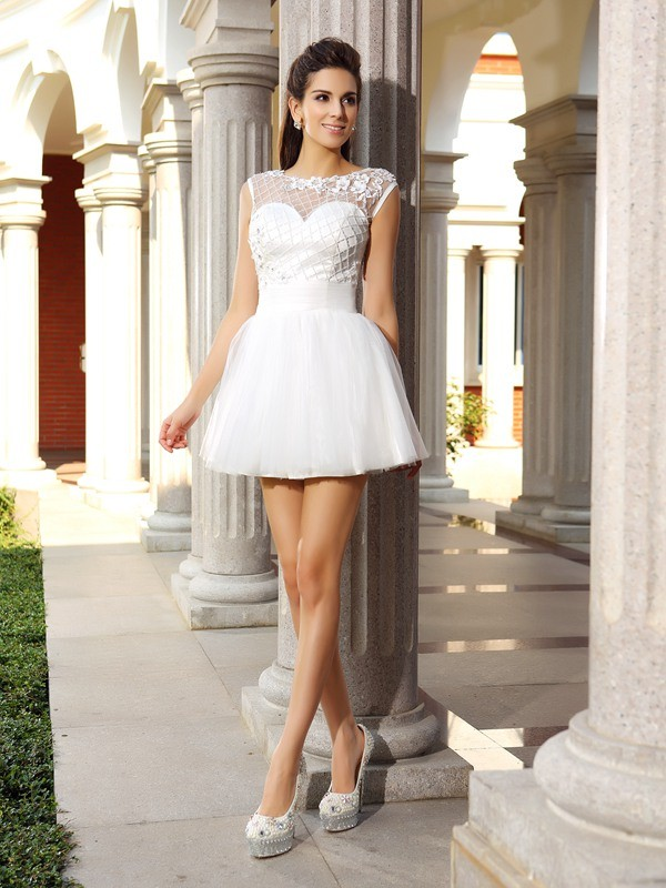 Stunning A-Line Scoop Cut Satin Short Dresses With Beading