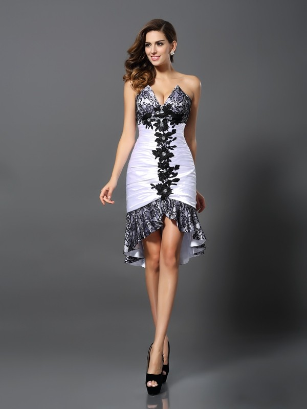 Lovely Sheath Sweetheart Cut Elastic Woven Satin High Low Dresses With Lace