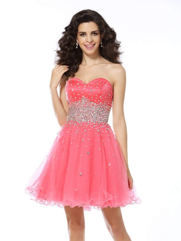 Shining A-Line Sweetheart Cut Organza Short Dresses With Beading