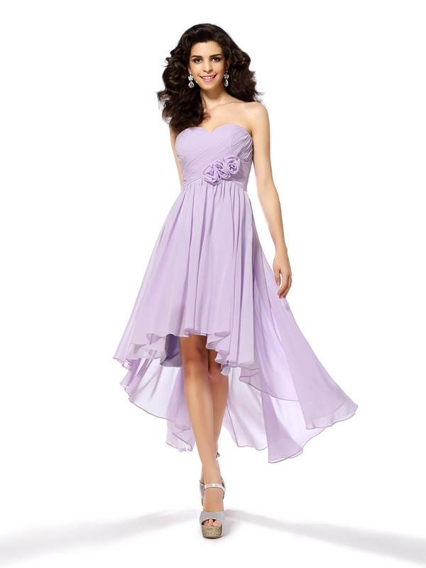 Attractive A-Line Sweetheart Cut Chiffon High Low Dresses With Hand-Made Flower