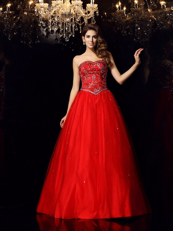 Delicate Ball Gown Sweetheart Cut Satin Long Dresses With Beading