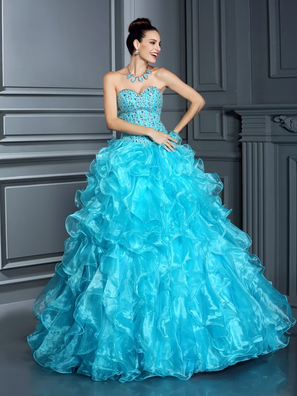 Dreamlike Ball Gown Sweetheart Cut Organza Long Dresses With Beading