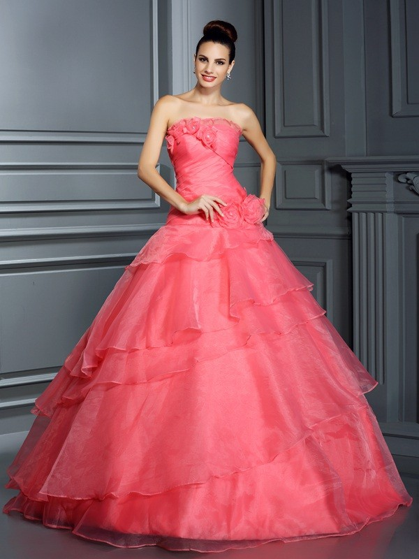Brilliant Ball Gown Strapless Cut Organza Long Dresses With Hand-Made Flower