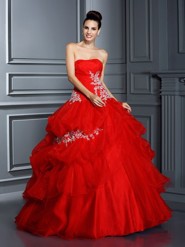 Radiant Ball Gown Strapless Cut Organza Long Dresses With Applique