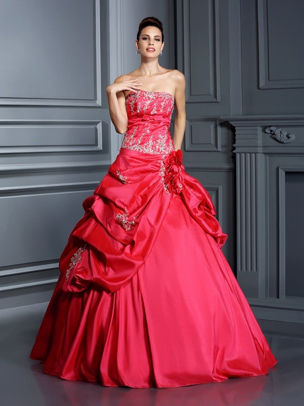 Smart Ball Gown Strapless Cut Taffeta Long Dresses With Applique