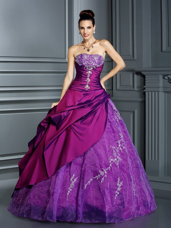 Chic Ball Gown Strapless Cut Taffeta Long Dresses With Applique