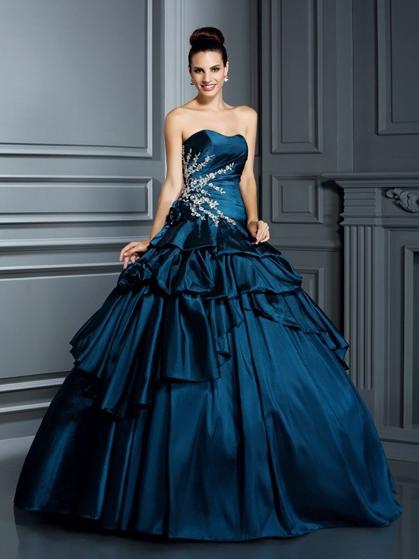 Sweet Ball Gown Strapless Cut Taffeta Long Dresses With Beading