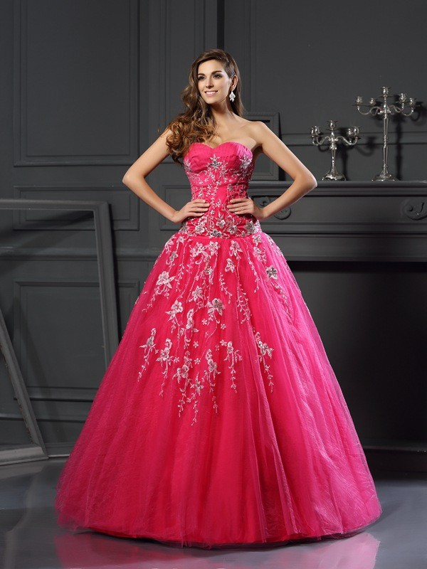 Glamorous Ball Gown Sweetheart Cut Net Long Dresses With Applique