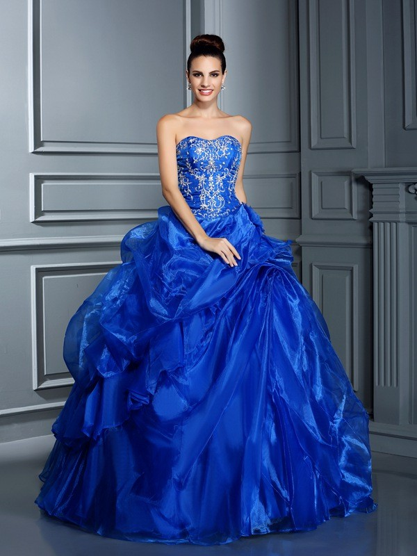 Popular Ball Gown Sweetheart Cut Satin Long Dresses With Applique