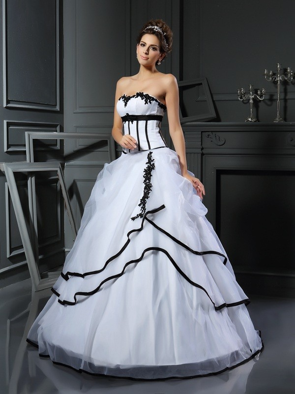 Trendy Ball Gown Sweetheart Cut Satin Long Wedding Dresses With Applique