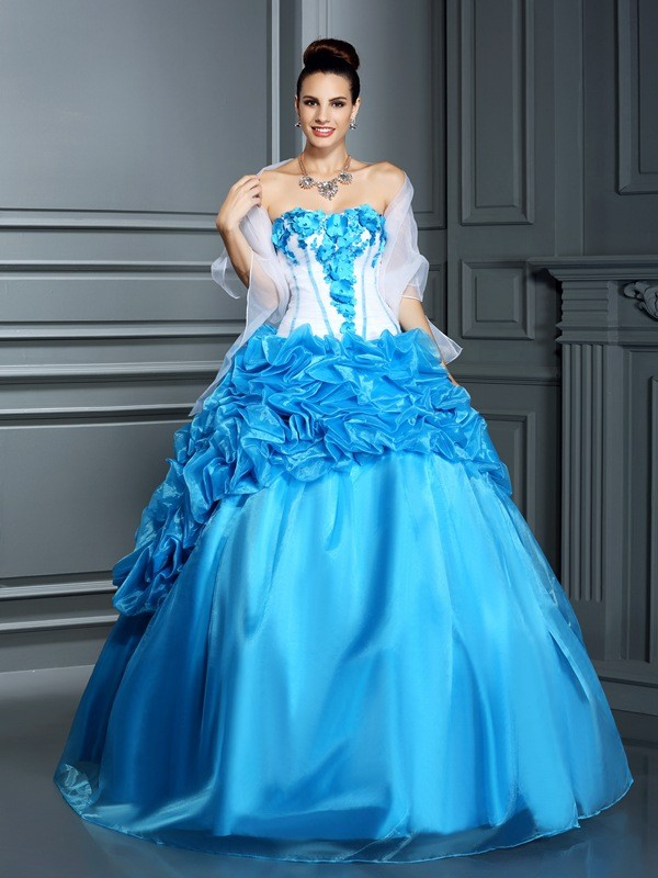 Pretty Ball Gown Sweetheart Cut Satin Long Dresses With Ruffles
