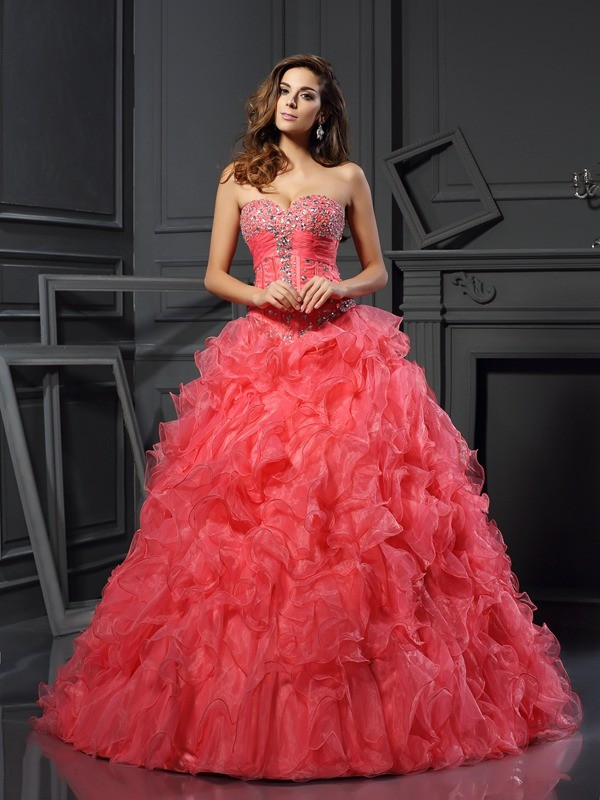 Nice Ball Gown Sweetheart Cut Organza Long Dresses With Ruffles